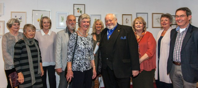 Former Mayor Howard Morganwith the Childwickury Botanical Artists